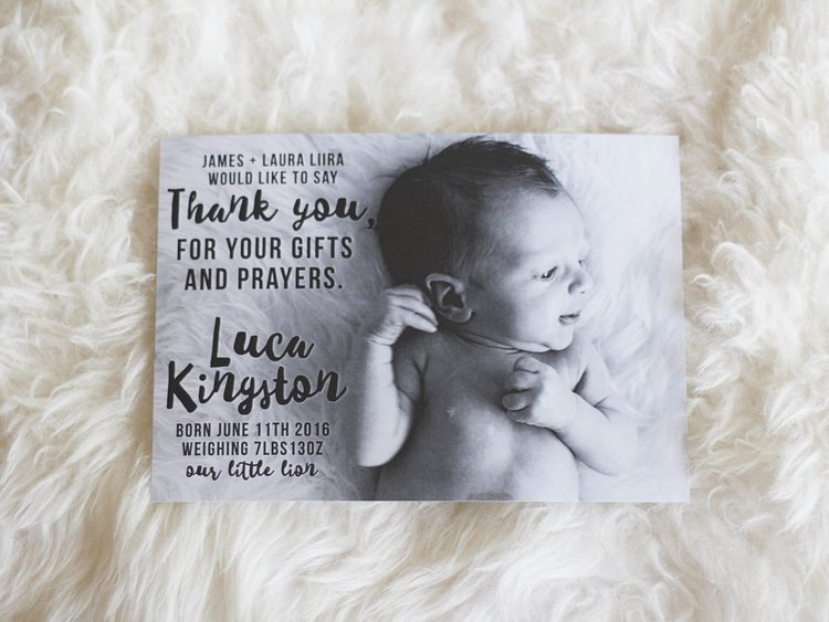 Luca S Birth Announcement Thank You Card Ssheart