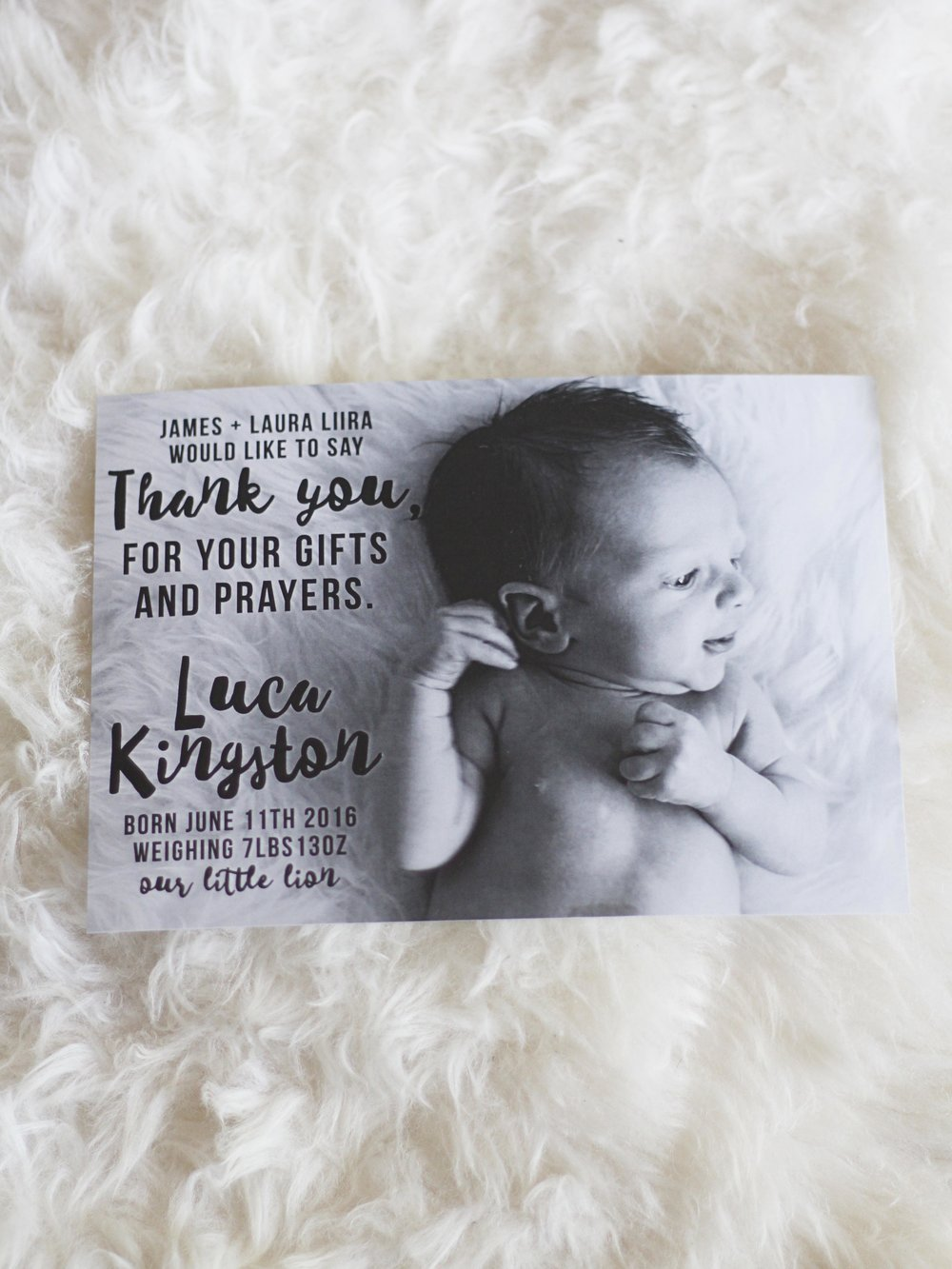 Baby birth announcement and thank you card