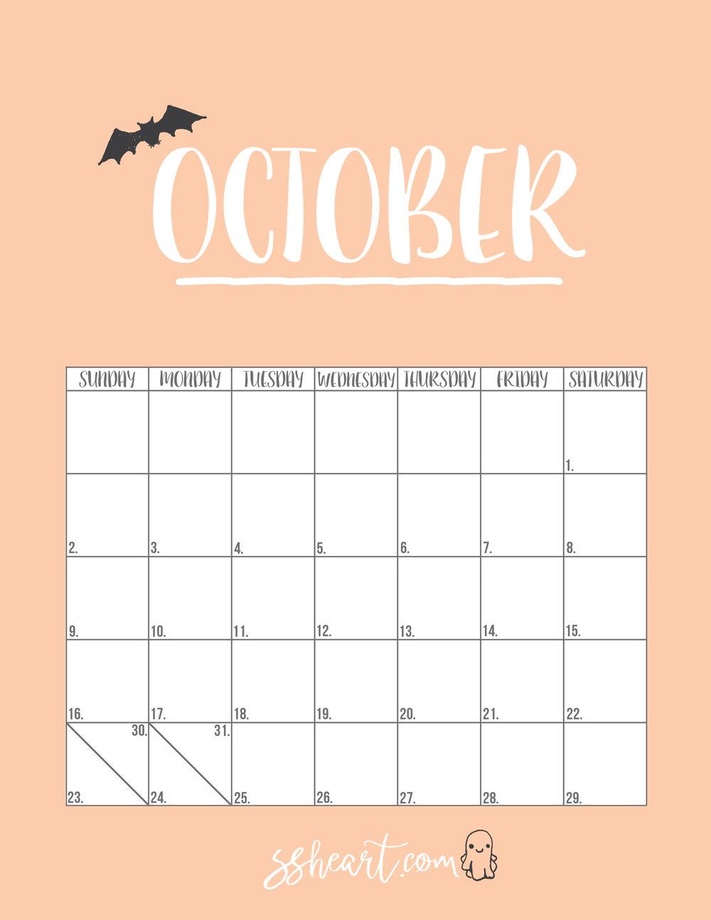 Free printable October 2016 Calendar!