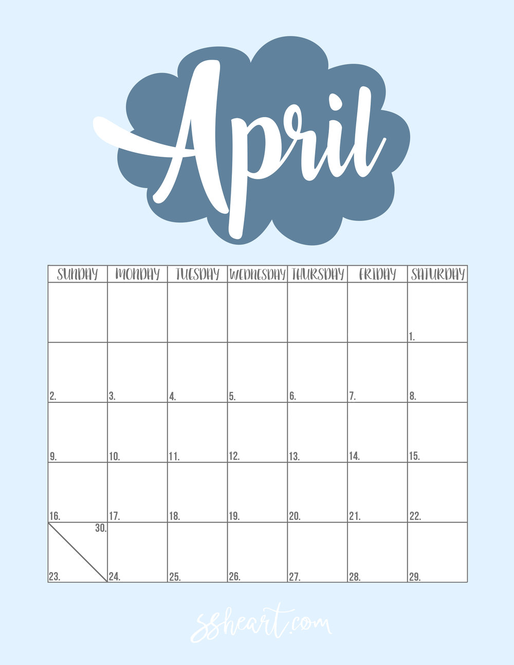 Printable April 2017 Calendar