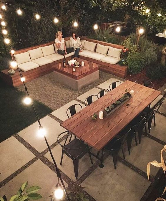 cozy backyard fire pit with bench seating