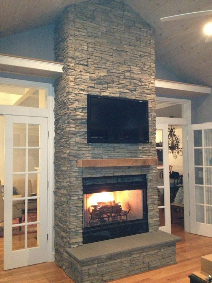 Transitional Stacked Stone Fireplace