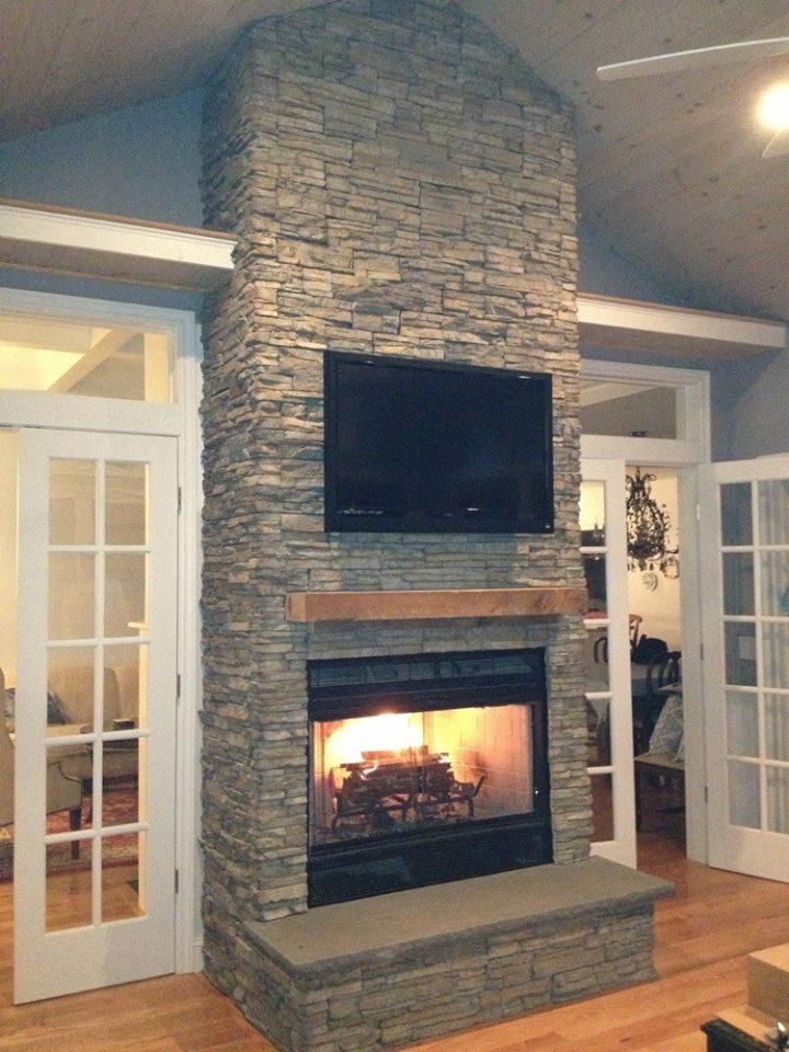 Transitional Stacked Stone Fireplace & Stone Veneer \u2014 Efficient Enterprises LLC