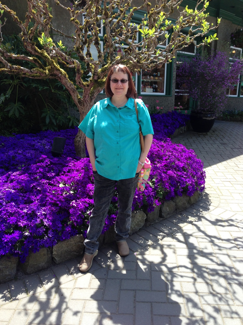 Tricia in brilliant colors--purple daisies.jpg