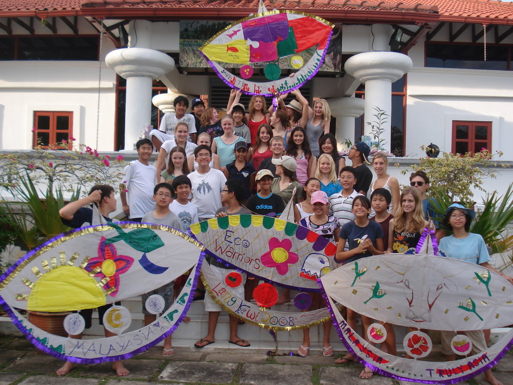 Langkawi, Laman Padi, Kite Making, Finished Kite and Students (4).JPG