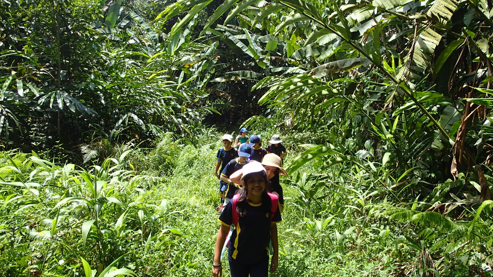 Ipoh, Ulu Geroh, Rafflesia Walk, Students walking in forest.JPG