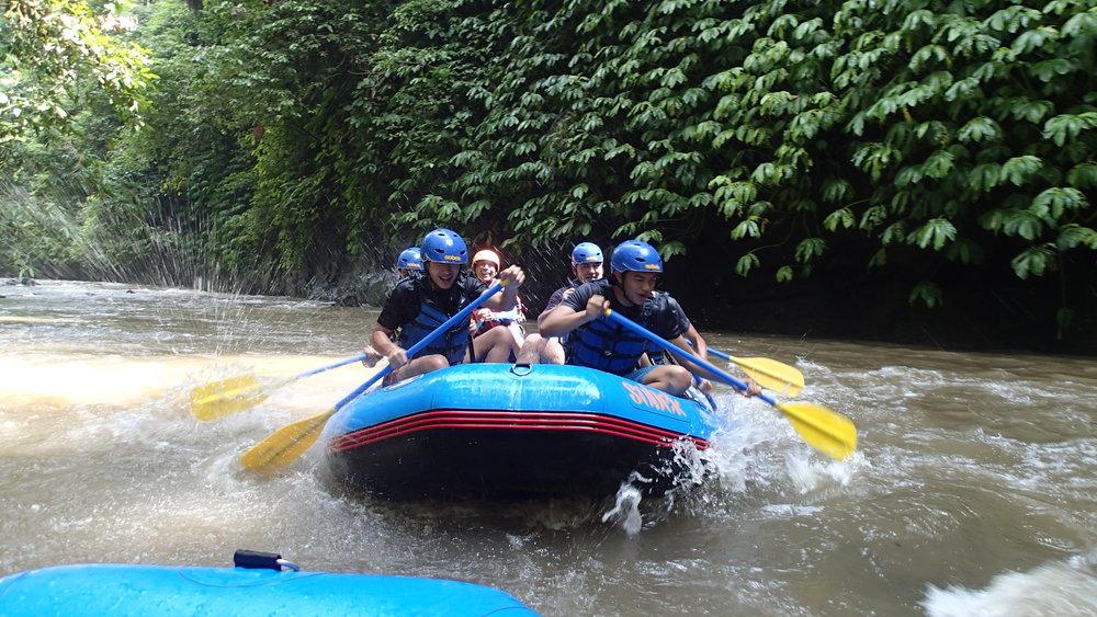 Bali, White Water Rafting, Students Paddling (2).JPG