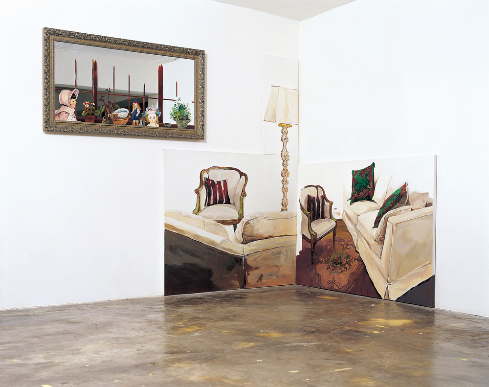 Window_Interactive, 2003, Oil on mirror, 76x136cm (30x53 1/2in),          Window III in Living Rm., 2003, Acrylic on canvas, 120x140.5, 91x41, 112.5x152cm(47 1/4x55 1/4, 35 3/4x16, 44 1/4x59 3/4in)  (3pcs, from left to right)