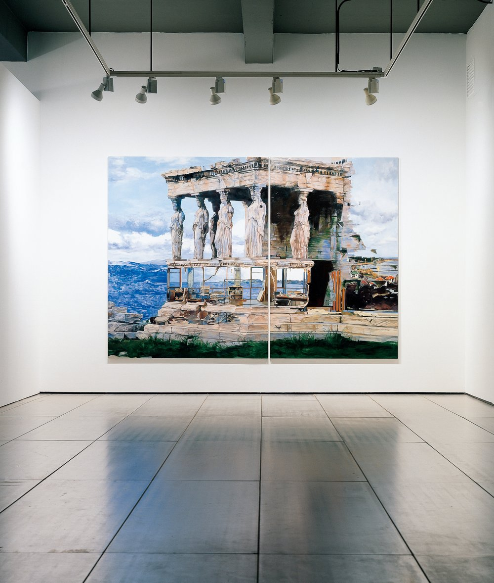 Erecthion+Jeju Studio, 2007, Oil on canvas, 227.3x328cm(89 1:2x129 in)(2pcs), Insallation view at ARARIO Gallery_Seoul, 2008.JPG