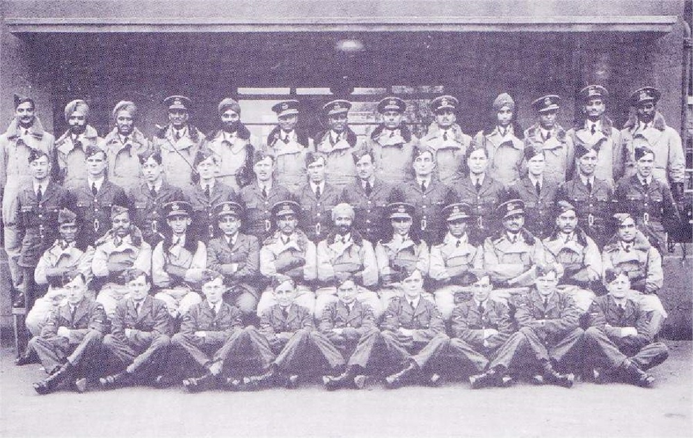 The Indian pilots sent to the UK for conversion training. Last row (from left): Shiv Dev Singh (2nd), Gurbachan Singh (3rd), Mohinder Singh Pujji (10th). Second Row (from left): Manmohan Singh (6th)