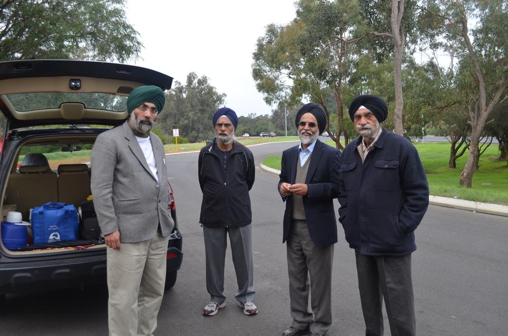 Members of ASHA and the Sikh community (from the left, Tarunpreet Singh, Dr Amarjeet Singh, Amarjit Singh Pabla, Paramjit Singh)