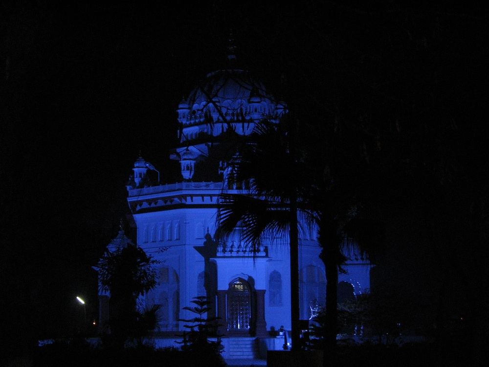 The Saragarhi Memorial Gurdwara (at night).