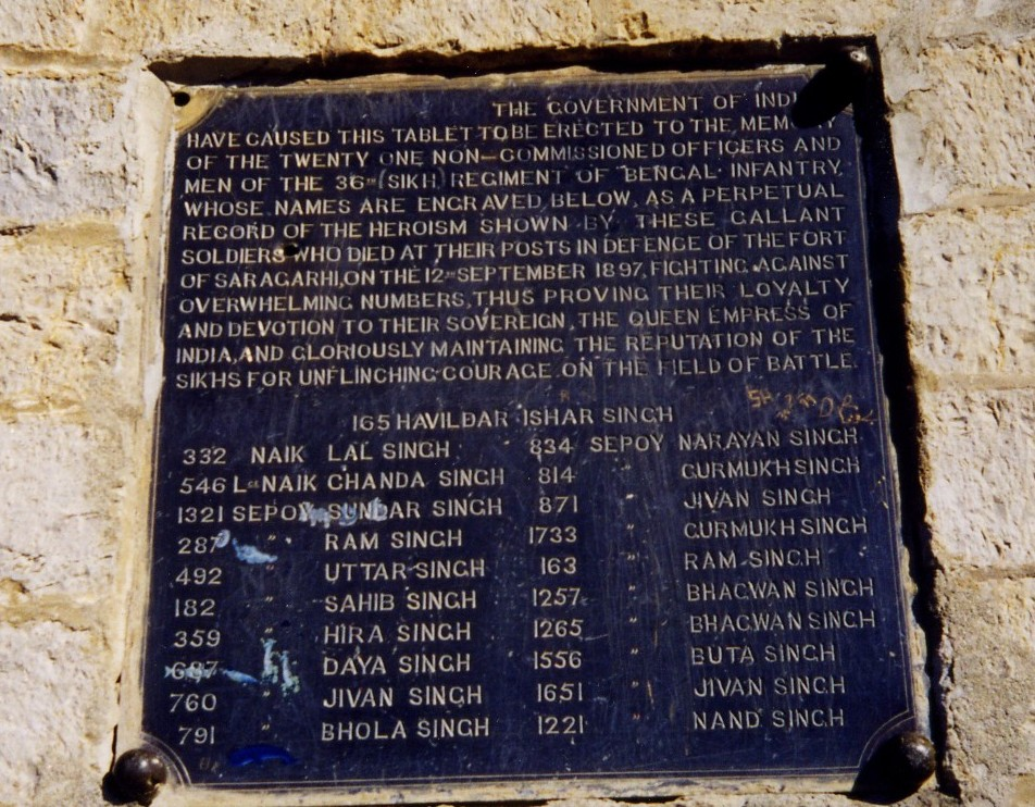 The Saragarhi Monument (inscription).
