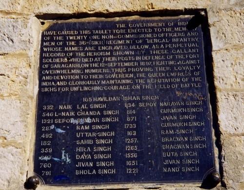 The Saragarhi Monument (inscription).
