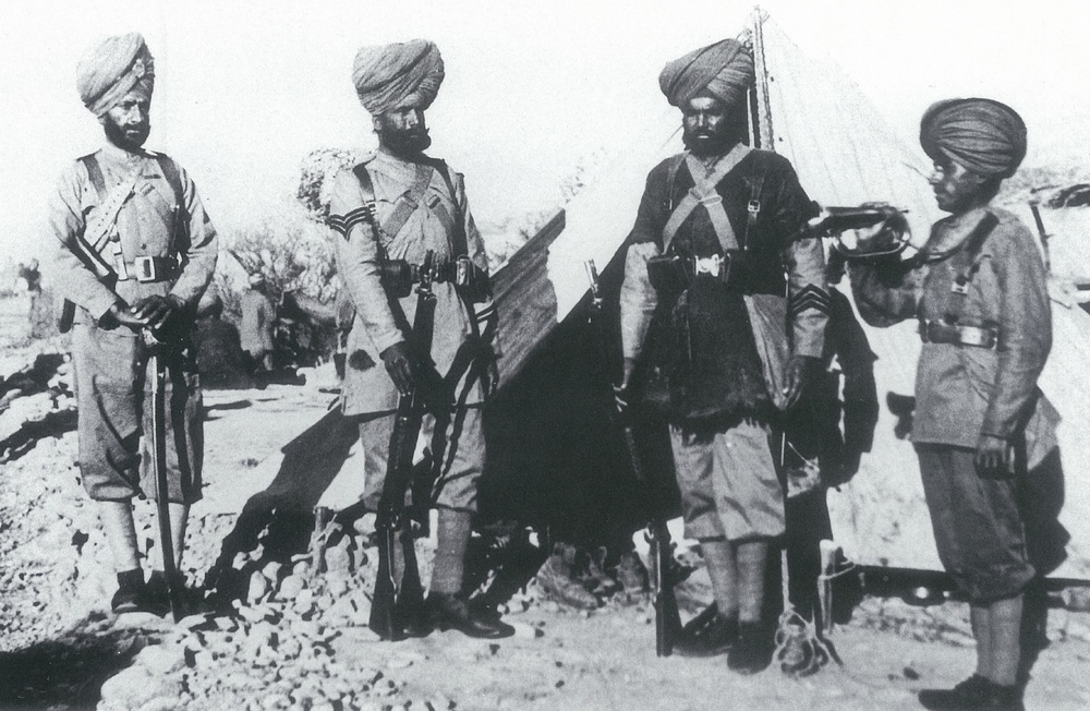 Various ranks of the 36th Sikhs. From left: Jemadar, Havildar, Sepoy and Bugler