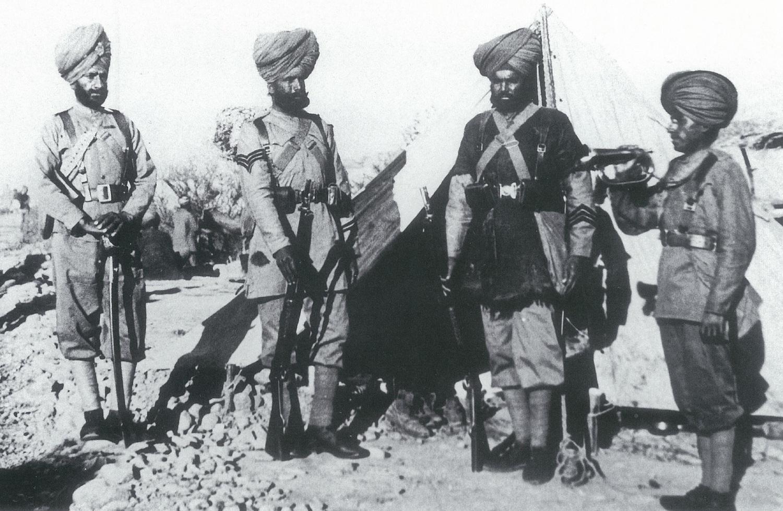 Various ranks of the 36th Sikhs. From left: Jemadar, Havildar, Sepoy and Bugler