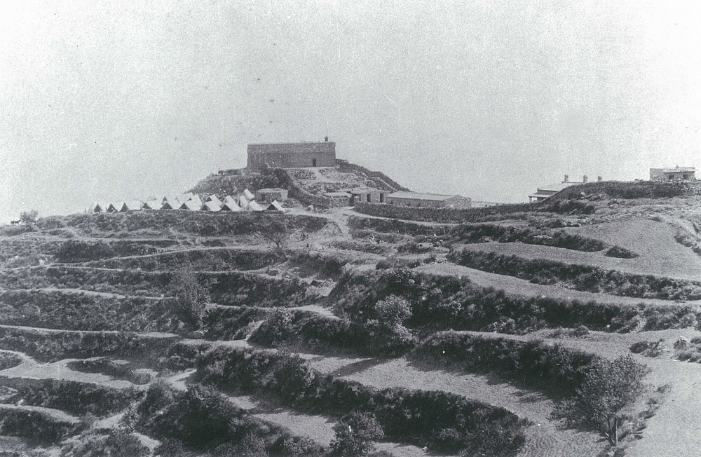 Fort Gulistan, photographed after its relief. Note the terraced hillside that provided excellent cover to the attackers.