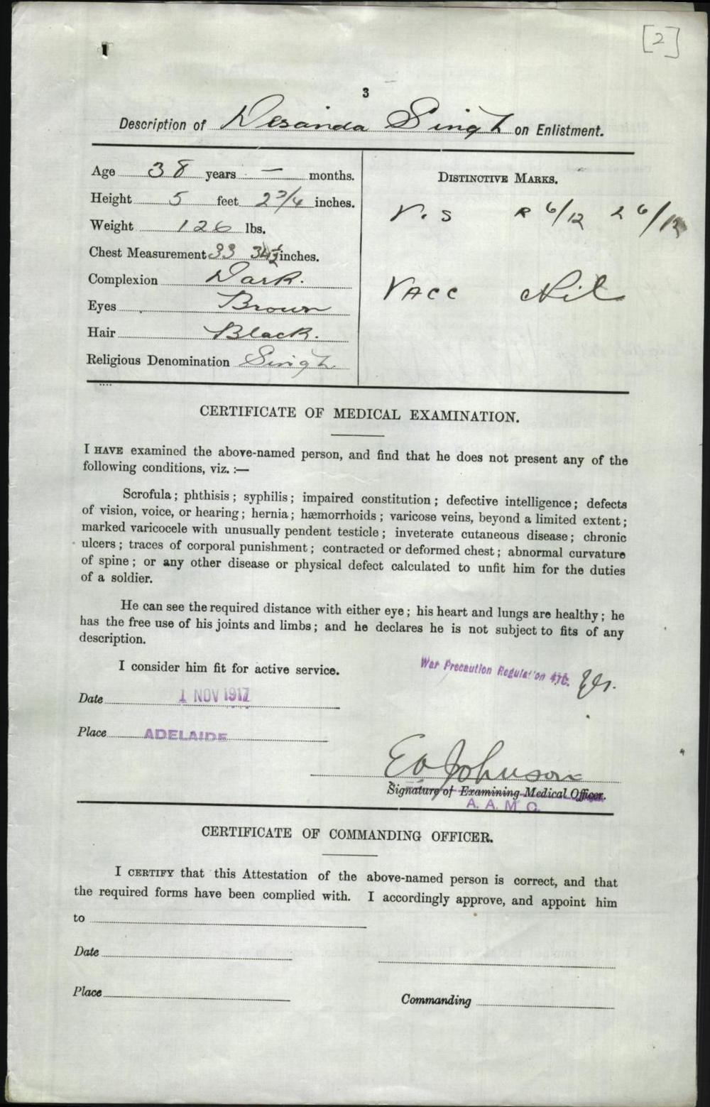 Desanda Singh - Enlistment form for WW1