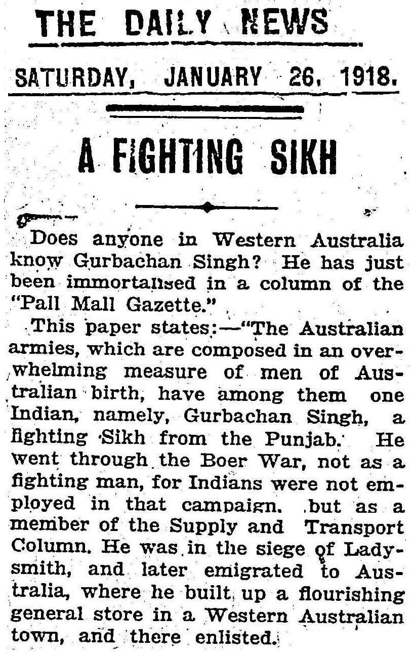 "Article taken from the Saturday 26 January 1918 edition of ""The Daily News"" a newspaper in Perth, Western Australia. To see original source please click on link below:  http://nla.gov.au/nla.news-article81789292"