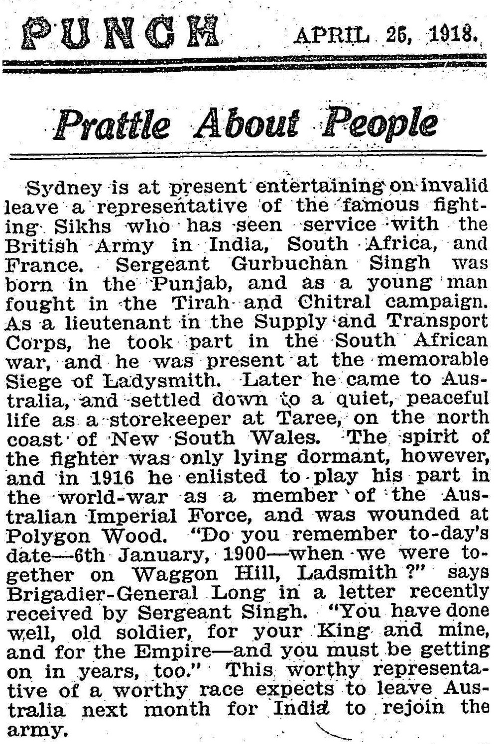 "Article taken from the Thursday 25 April 1925 edition of ""Punch"" a newspaper in Victoria. To see original source please click on link below:  http://nla.gov.au/nla.news-article130035040"