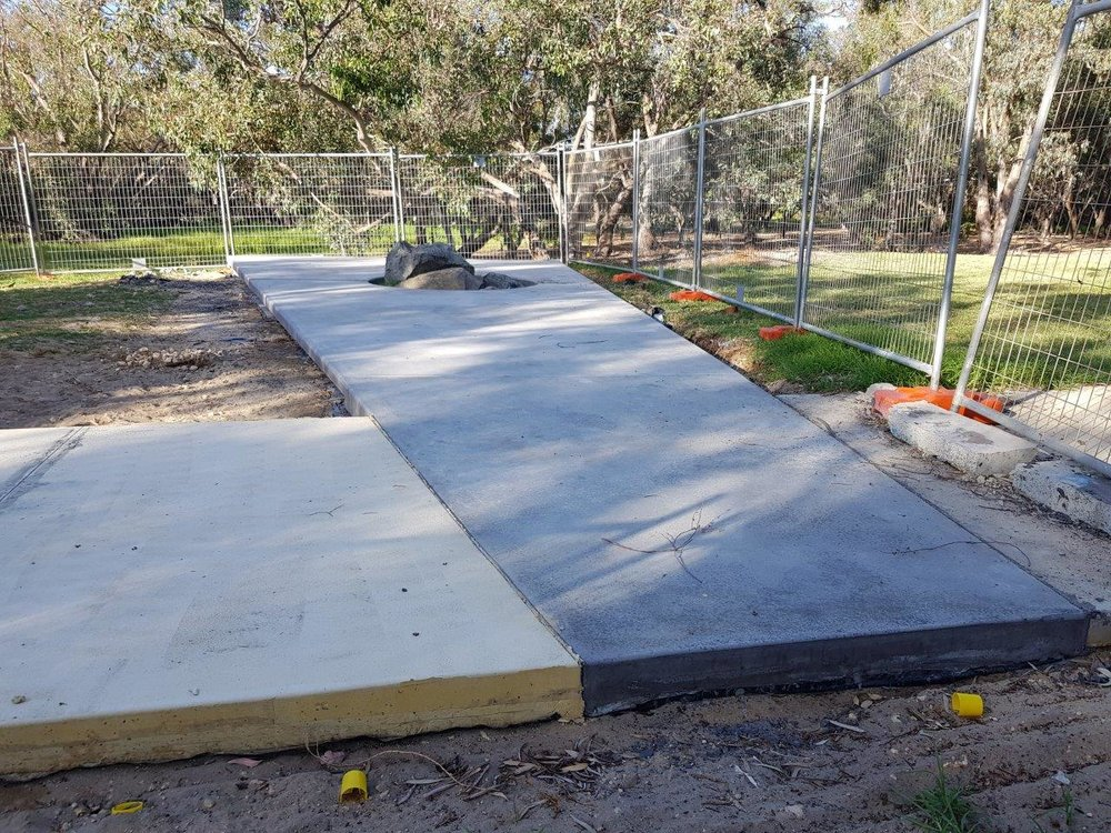 Node 2 of 4 concrete pour complete. This node marks the site upon which the 1992 commemoration was conducted. The original rocks and plaque have been integrated into the design of the Australian Sikh Heritage Trail.