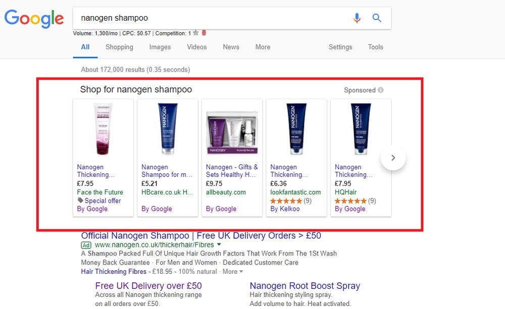 En esta imagen se puede ver la sección de la página de resultados en la que aparecen los productos de Google Shopping