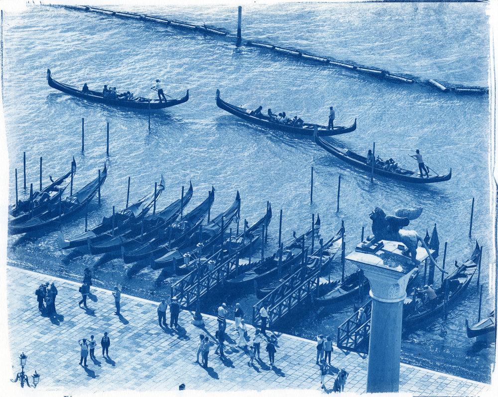 "Gondolas, Venice  (Cyanotype Print, 8 x 10"")"