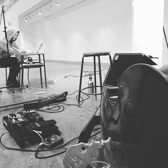 Office for the weekend! . . . . #uprightbass #artgallery #bassguitar