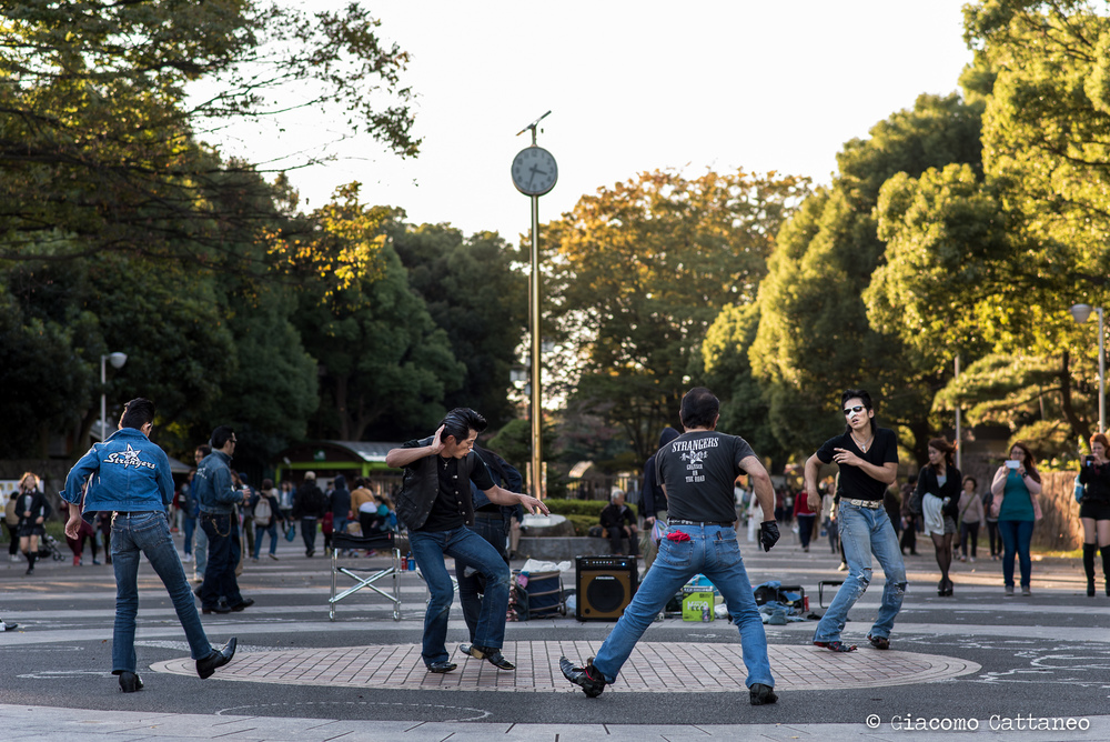 ISO 320, 85mm, f/3.5, 1/400 sec - Elvis gang at Yoyogi park, Tokyo. Still feeling the vibe...