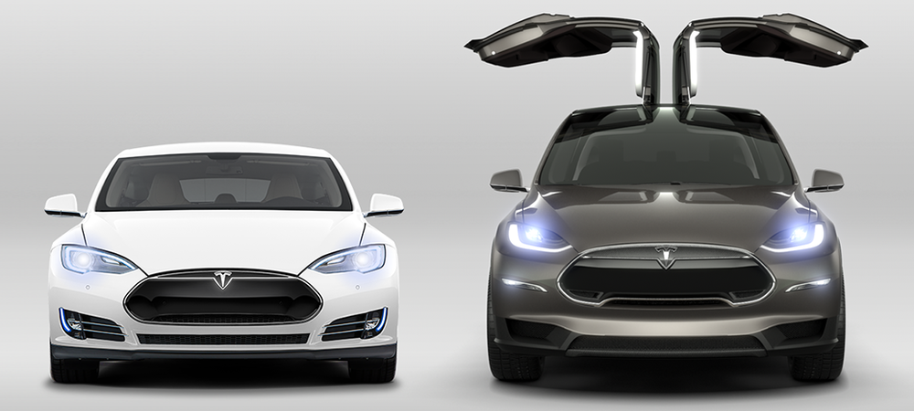 Model S on the left, Model X on the right