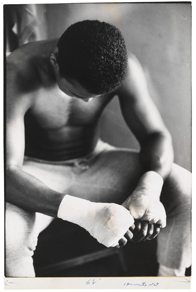 Gordon Parks (1912-2006), Bandaged Hands, Muhammad Ali, 1966. Gelatin silver print, 13 5/16 x 9 1/4 in. (33.8 x 23.5 cm). Whitney Museum of American Art, New York; purchase, with funds from Joanne Leonhardt Cassullo, The Dorothea L. Leonhardt Fund at The Communities Foundation of Texas, Inc., and Michèle Gerber Klein 98.59 Courtesy of and © The Gordon Parks Foundation