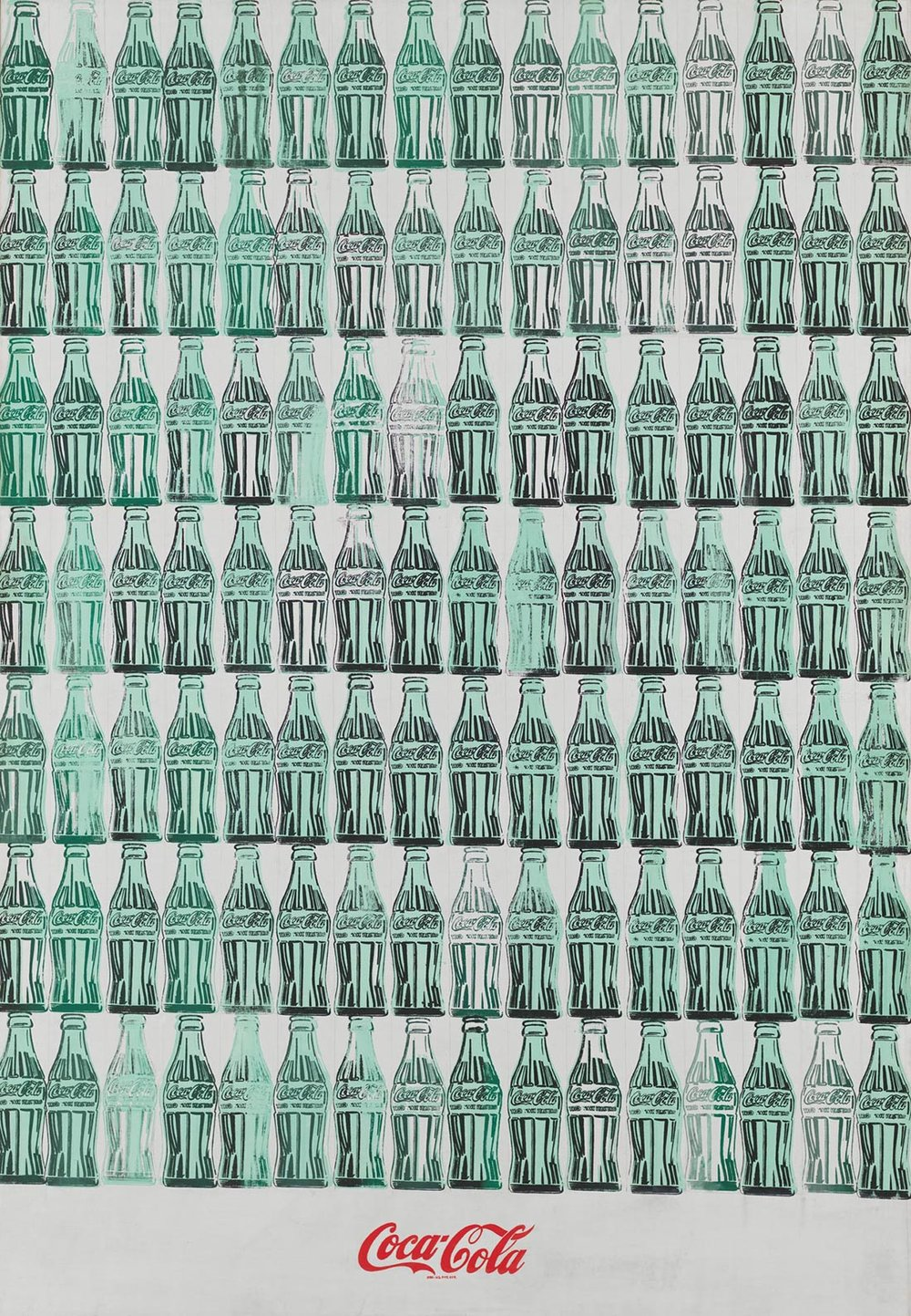 Andy Warhol  (1928-1987),  Green Coca-Cola Bottles , 1962. Acrylic, screenprint, and graphite pencil on canvas, 82 3/4 x 57 1/8 in. (210.2 x 145.1 cm). Whitney Museum of American Art, New York; purchase with funds from the Friends of the Whitney Museum of American Art 68.25. © 2017 The Andy Warhol Foundation for the visual Arts, Inc./ Artists Rights Society (ARS), N.Y.