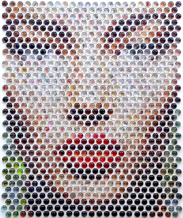 NEMO JATZEN    Comic Relief , 2018 Original photography with resin on wood. 121 x 146 cm, 3cm domes (NJA015)