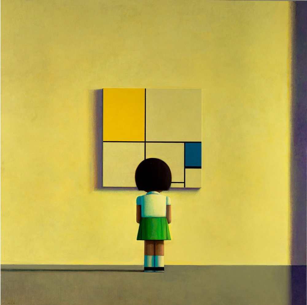 © Liu Ye  Mondrian in the Morning , 2000  Acrylic on canvas, 180 x 180 cm Private Collection, Beijing  Photo: Cao Yong (曹勇)