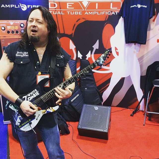 @therealchrisbrightwell shredding it up at the @studiodevil booth yesterday #amplifire #damageinc #atomic #studiodevil #namm2016
