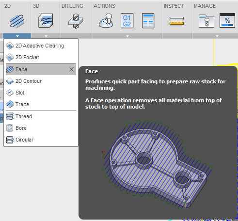The tool tab of the facing toolpath will be the same as for the Adaptive Clearing toolpath.  In the geometry section, we will first set the tool orientation.  Once again, we will use the Z axis & X axis method.  For the Z axis, select the axis that you created earlier that is perpendicular to the face you want to machine (in this case the 6 face).  For the X Axis, select the top edge of the section you are machining as this lines up with our X axis.  For some geometry, this may not be possible and you will have to create a reference axis as we did with the Z axis.  For the stock contour, select the contour of the face you wish to machine.