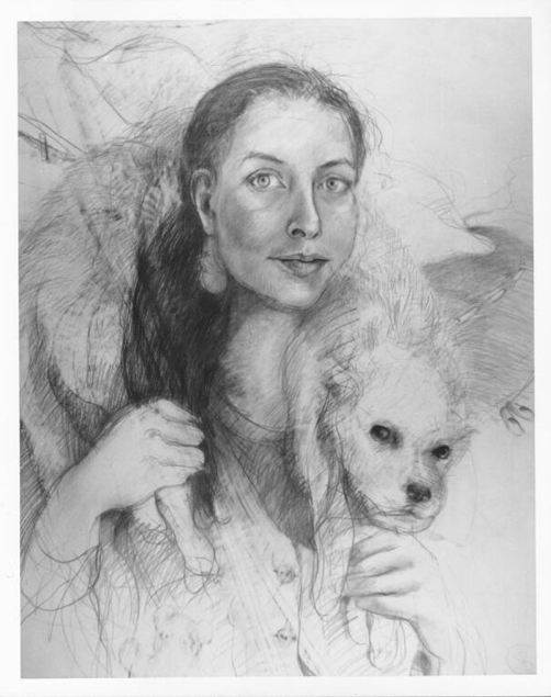 Sheryl Cozad,  Self-Portrait with Chloe,  graphite