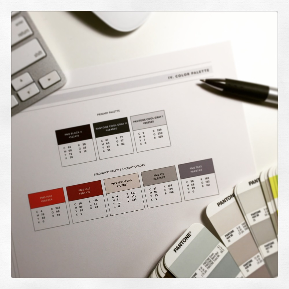 A new brand launch is in its final stages—here's their color palette getting a few last tweaks.