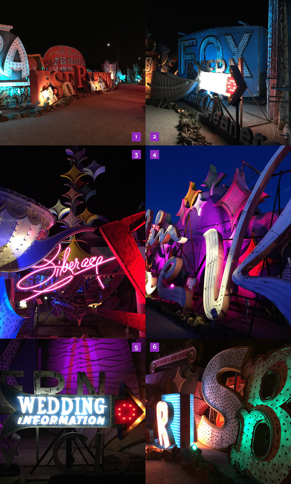 1. & 2. More shots from the Neon Museum, including 3. restored sign from the Liberace Museum, 4. Moulin Rouge (detail shot), 5. an old Wedding Chapel sign, and 6. a collection of odd letters—which I loved!