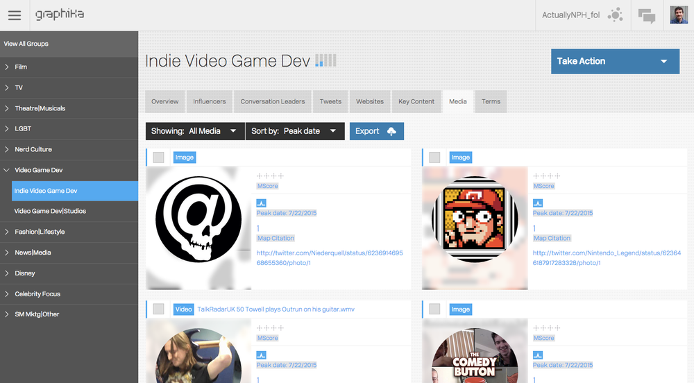 "The most recent photos and videos shared by the ""Indie Video Game Dev"" segment in the map of @ActuallyNPH's followers."