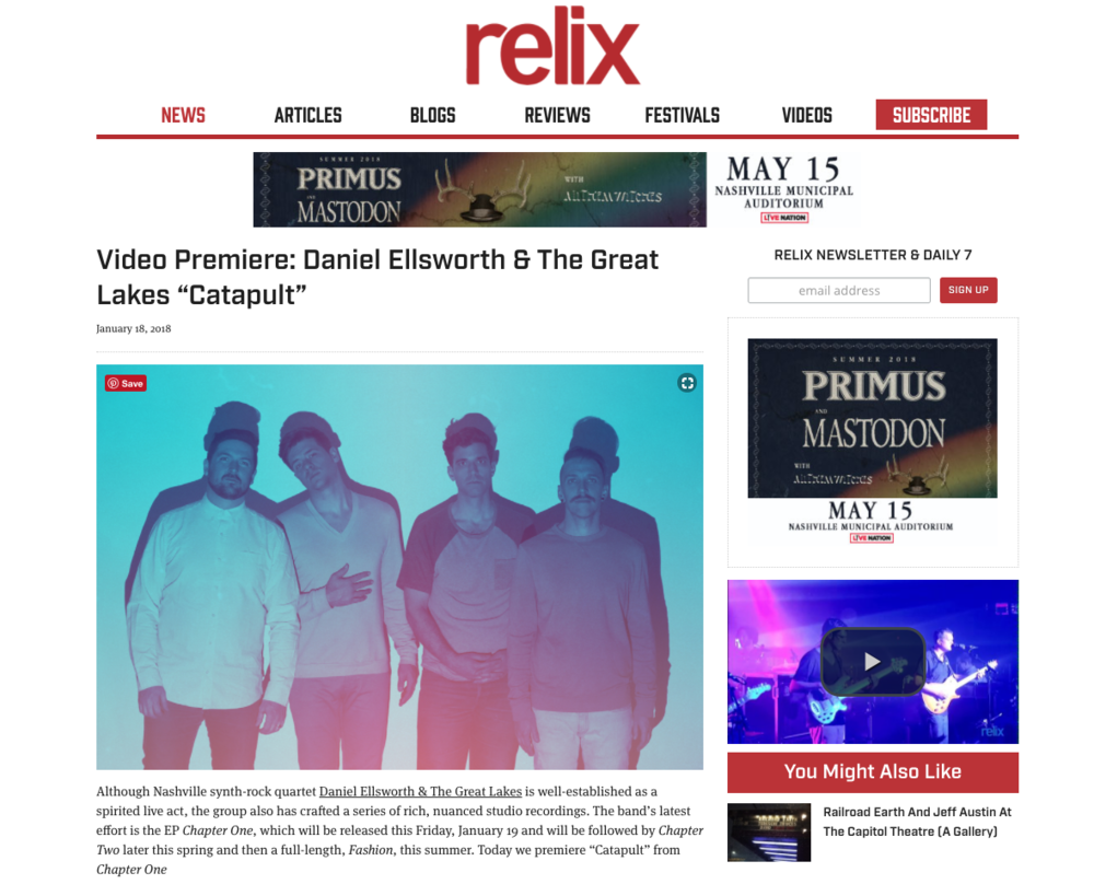 "Relix Magazine Premieres ""Catapult"" Music Video   The official music video for ""Catapult"" is premiering now over on  Relix Magazine . They call our brand new Chapter One EP ""...a series of rich, nuanced studio recordings.""  Watch the video and read the whole article here ."
