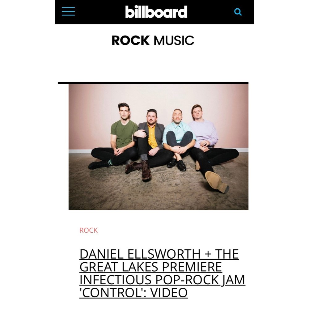"Billboard Premieres ""Control"" Music Video   The official music video for ""Control"" is premiering now over on  Billboard . They call the song ""...a candy-coated nugget coming straight from Nashville that sounds ready to squeeze in alongside Børns and the 1975 on your alt-pop playlists.""  Watch the video and read the whole article here ."