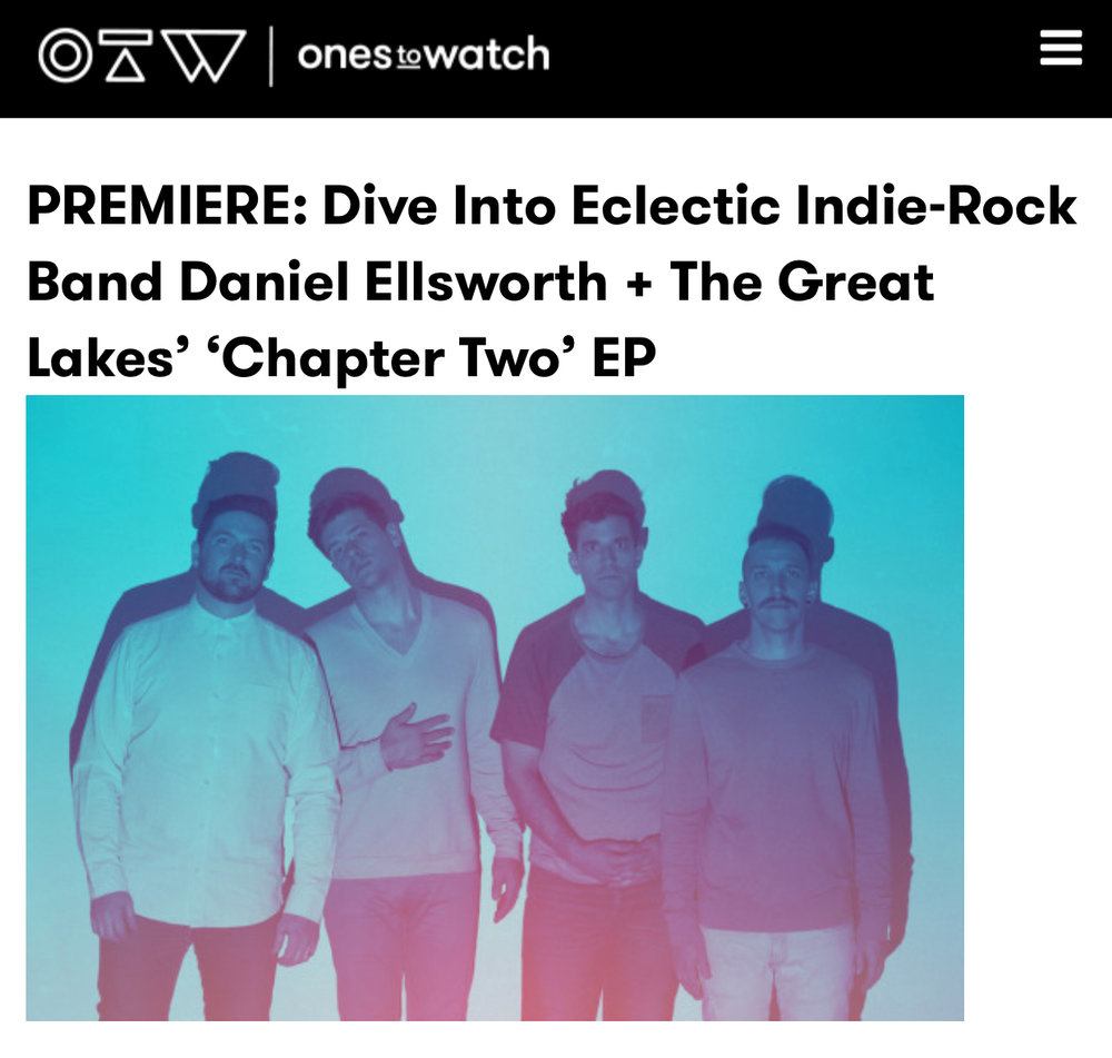 """Chapter Two"" EP Premiering On Ones To Watch   Our ""Chapter Two"" EP premiered exclusively on Live Nation's  Ones To Watch .  "" At the juncture of electro-pop, indie-rock, and pure funkiness, the group creates music with swagger, mindfulness, and an irrefutable spark that can set any night on fire.""  Read the whole article and listen to the EP here ."