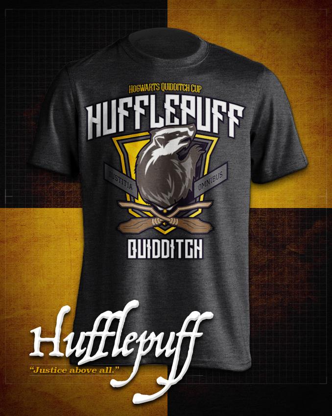 Hufflepuff  Quidditch T-Shirt in Heathered Dark Grey