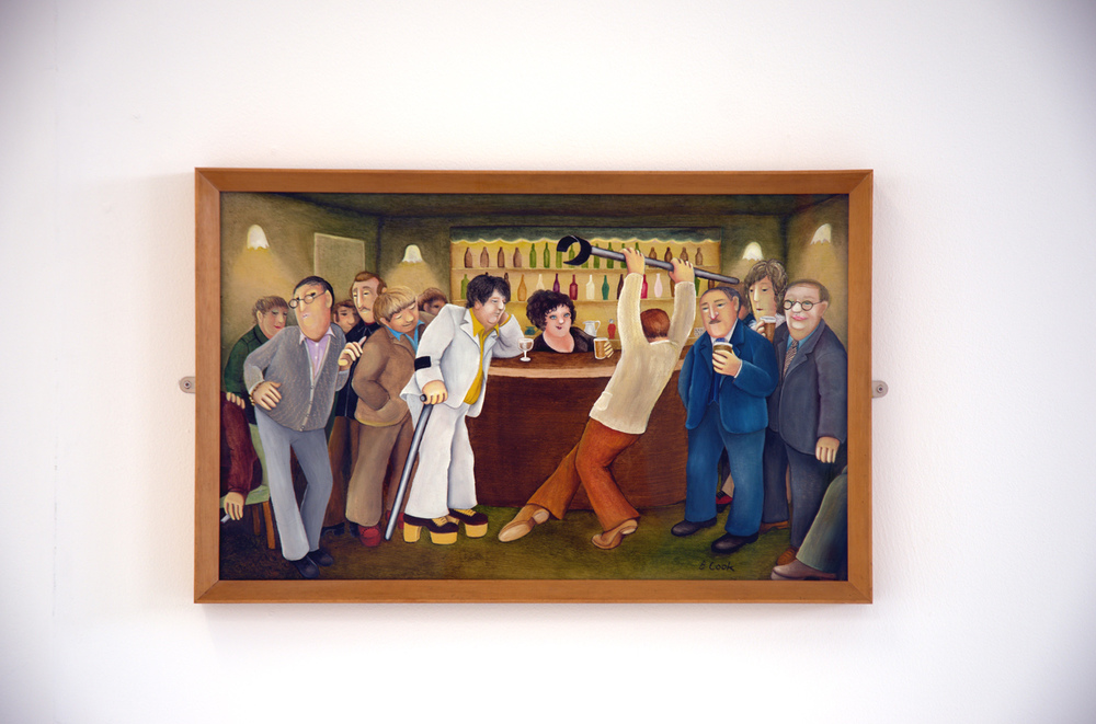 Beryl Cook,  Lockyer Street Tavern,  1976, oil on plywood, 38 x 62 cm, Plymouth City Council
