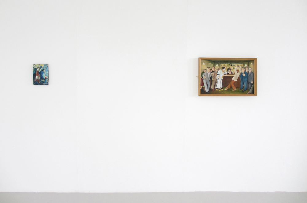 Installation view, [left] Simon Bayliss,  Brace Up , 2013, [right] Beryl Cook,  Lockyer Street Tavern , 1976