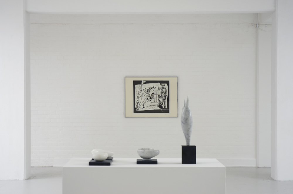 Installation view, [foreground] Edward Stein [various works],  [background] Peter Lanyon,  The Returned Seaman , 1952