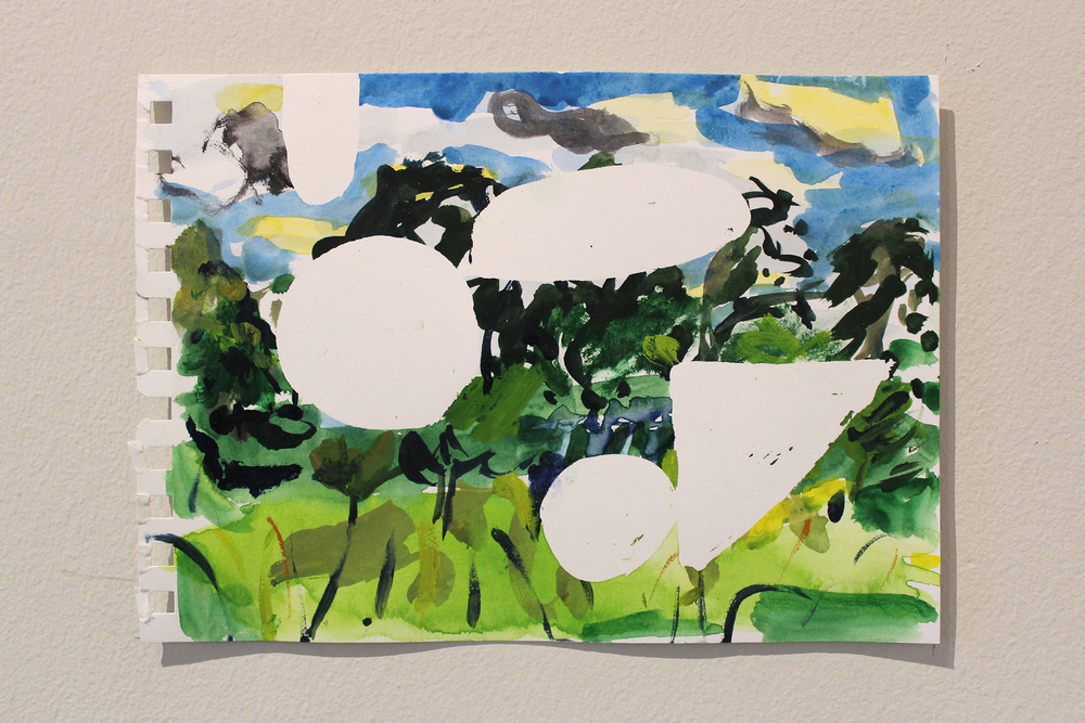 From the series    En Plein Air Paintings     (Hestercombe),  2015, watercolour, acrylic, sunlight-developed dye on paper,   14.8 x 21 cm