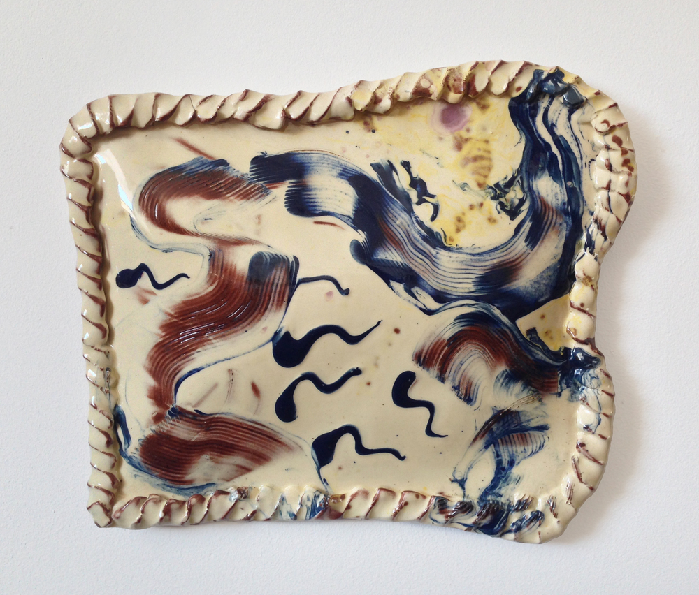 Untitled (Sperm Party Pasty) , 2016, slipware, 25 x 28 x 3 cm approx.