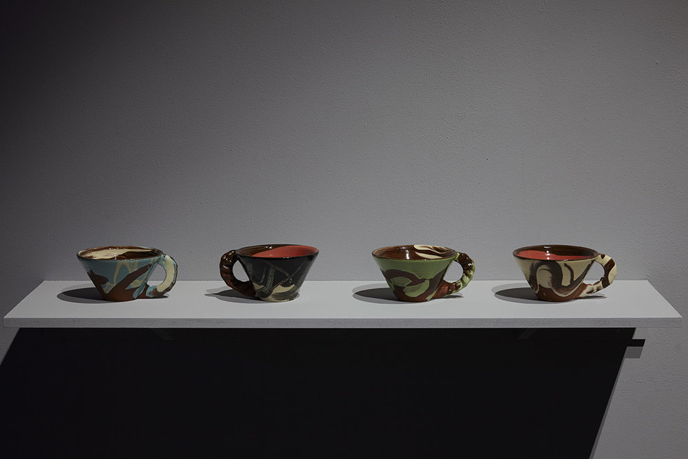 Untitled (Crimped-handle slipware mugs) , terracota, slips, transparent glaze, rim diameter 13cm approx.